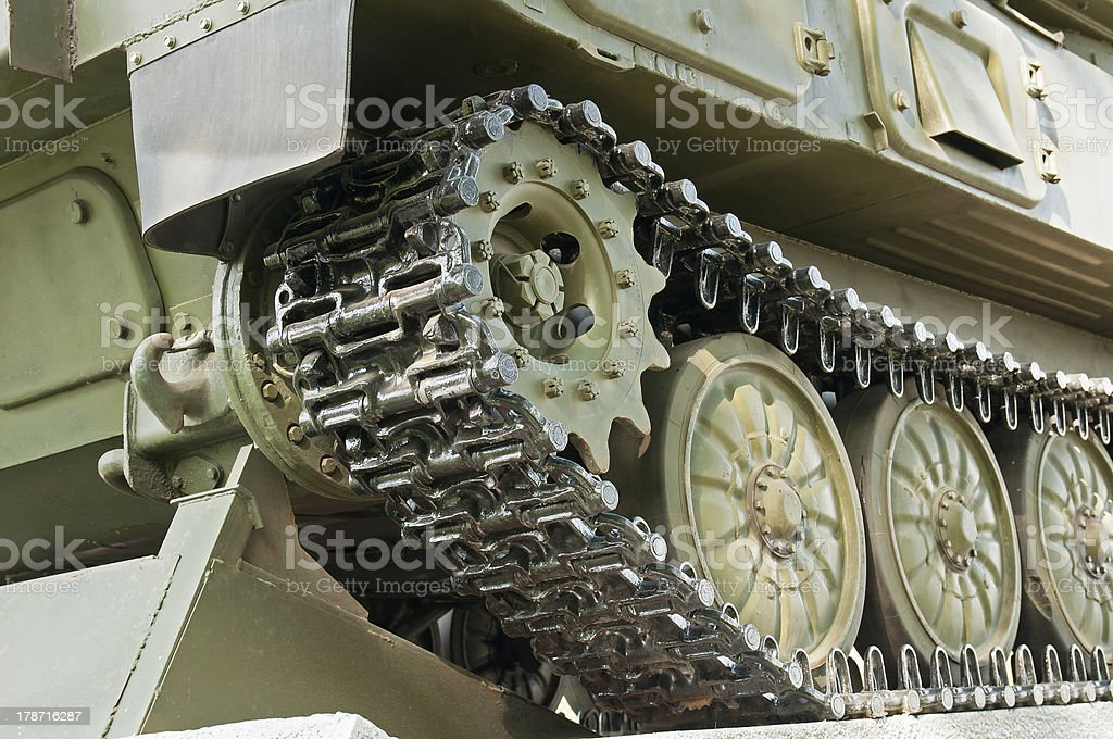 caterpillar track close up stock photo