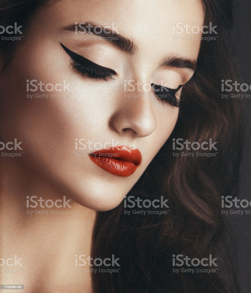 Cat-eye make up stock photo