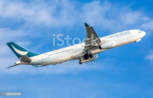 This image is of a Cathay Pacific Airbus A330-343 taking off from Hong Kong International airport. Cathay Pacific Airways Limited (CPA), also known as Cathay Pacific or Cathay, is the flag carrier of Hong Kong, with its head office and main hub located at Hong Kong International Airport. The airline's operations and subsidiaries have scheduled passenger and cargo services to more than 190 destinations in more than 60 countries worldwide including codeshares and joint ventures. Cathay Pacific operates a fleet of wide-body aircraft, consisting of Airbus A330, Airbus A350 and Boeing 777 equipment. Cathay Pacific Cargo operates three models of the Boeing 747.