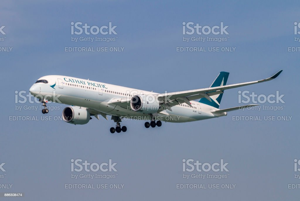 Cathay Pacific Airbus A350941 Arriving Into Hong Kong Stock Photo