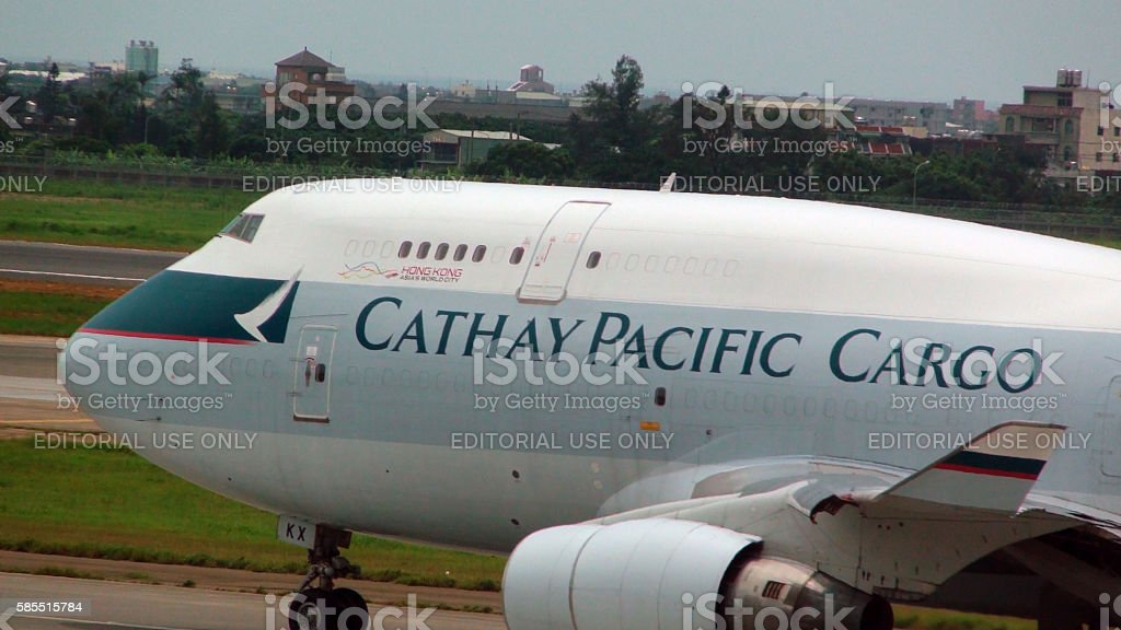 Cathay Pacific Airlines Cargo Airplane Taxiing To Take Off stock photo