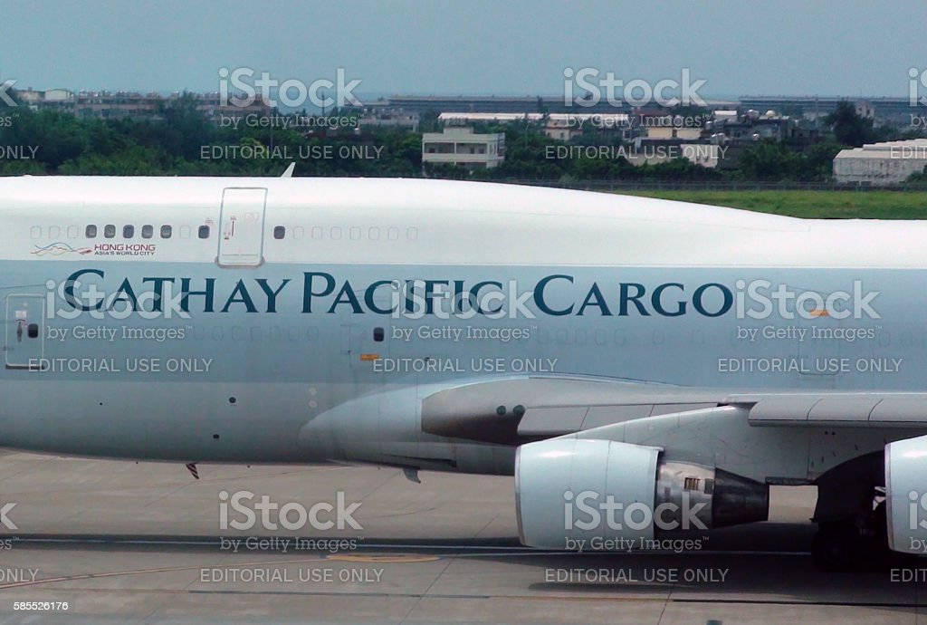 Cathay Pacific Airlines Cargo Airplane Taxiing To Take Off.Taipei.Tawan stock photo