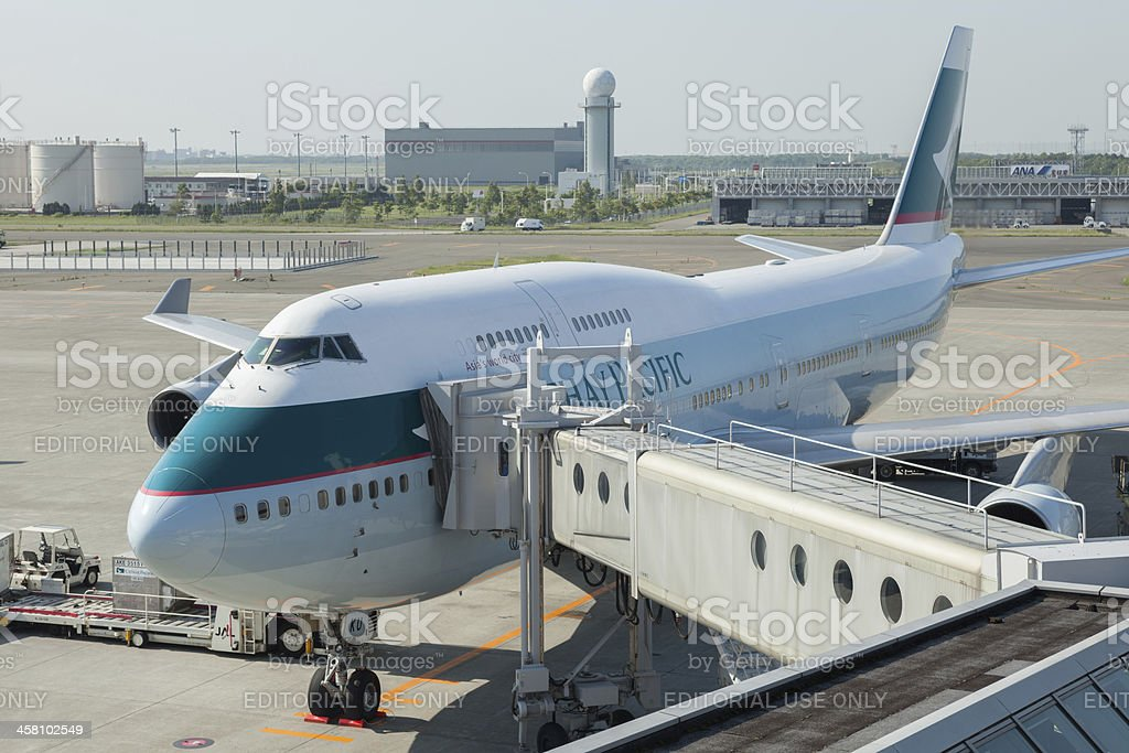 Cathay Pacific Airways Boeing 747-400 royalty-free stock photo