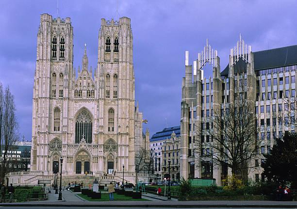 cathédrale de bruxelles stock photo