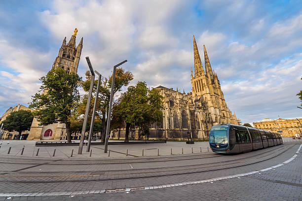 Cathédrale Saint-André de Bordeaux and Tram stock photo