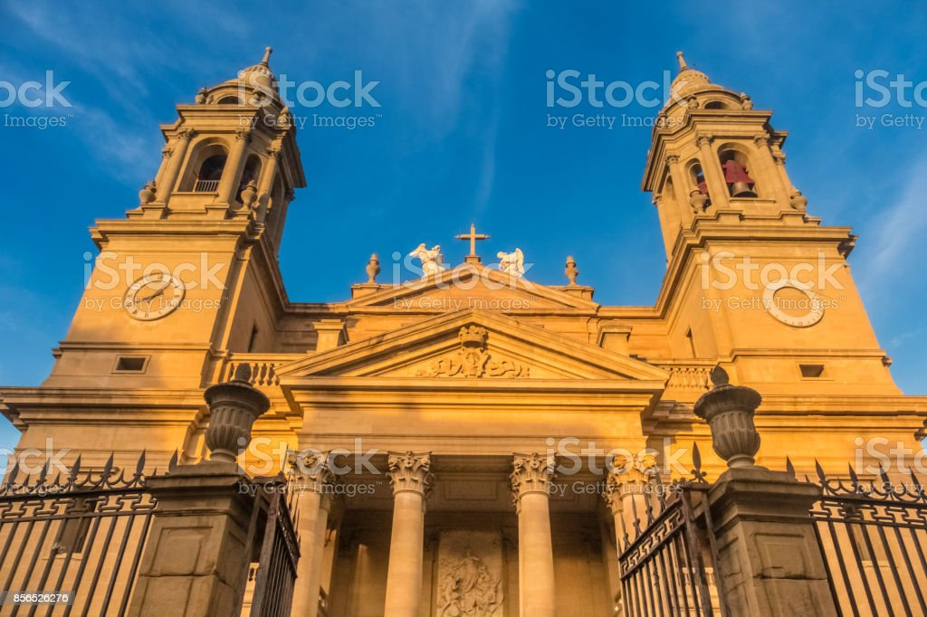 Cathecral of Pamplona (Iruña), the historical capitalof Navarre, Spain. XiV century Gothic Cathedral, with an outstanding cloister and a Neoclassical façade stock photo