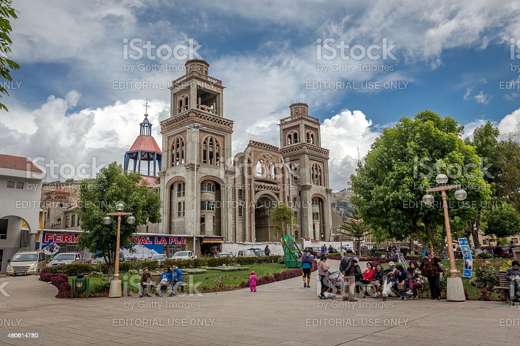 Cathedra near Plaza De Armas stock photo