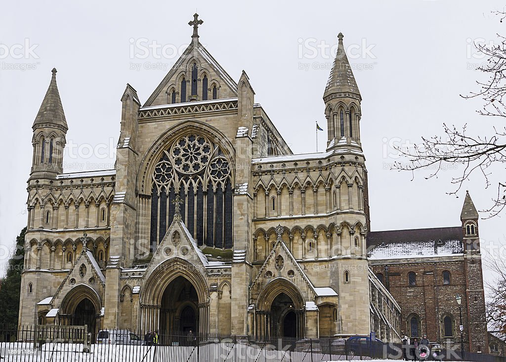 Cathedral and Abbey Church of Saint Alban in St.Albans, UK stock photo