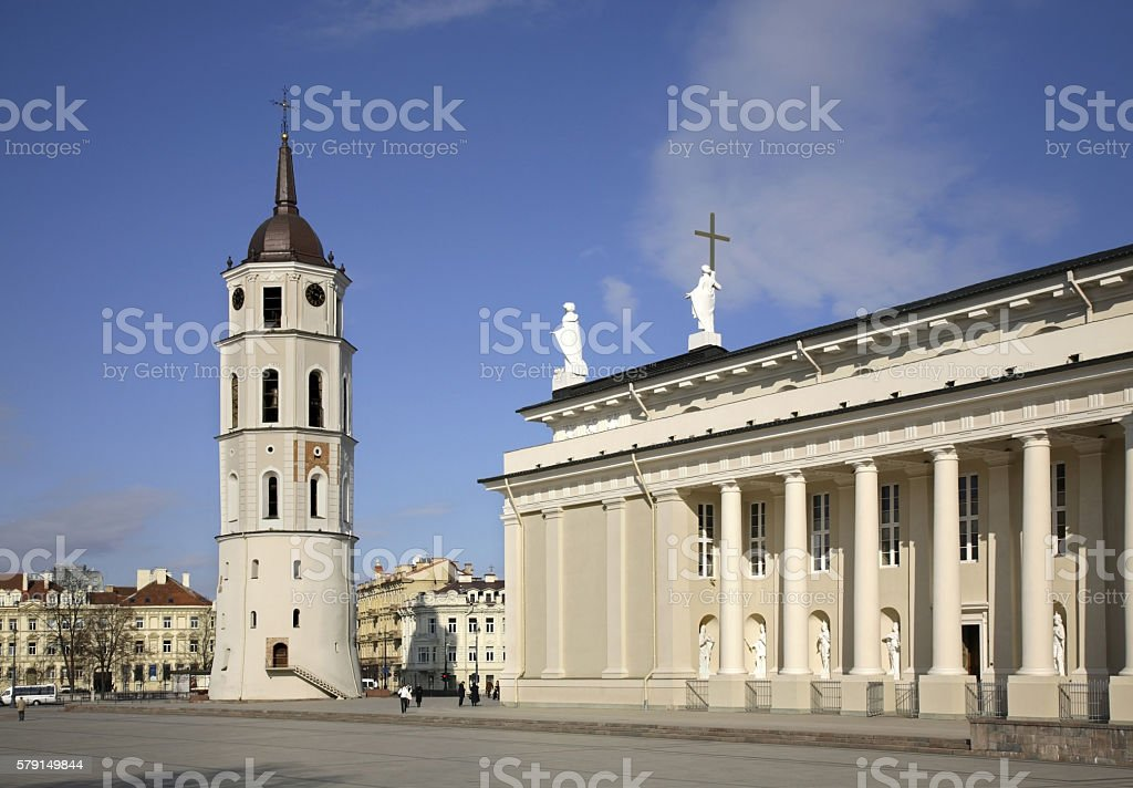 Cathedral and bell tower in Vilnius. Lithuania stock photo