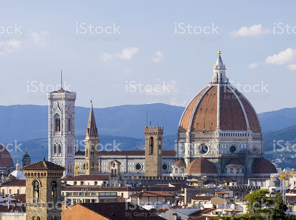 Cathedral and Duomo on the Florence City Skyline in Italy stock photo