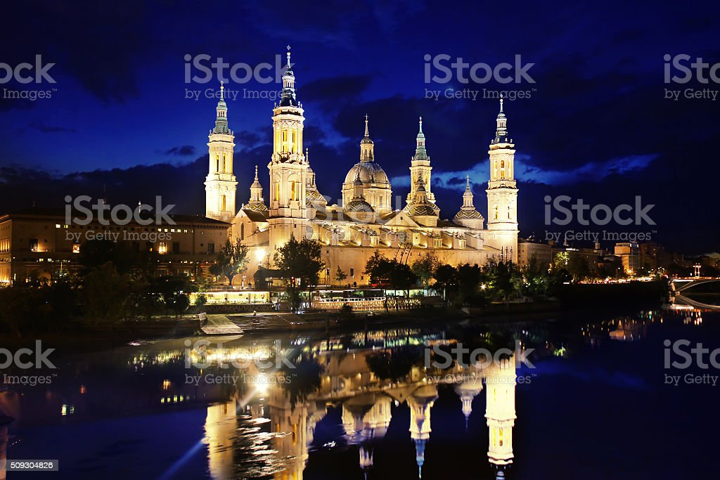 Cathedral and Ebro river in Zaragoza. Aragon, Spain stock photo