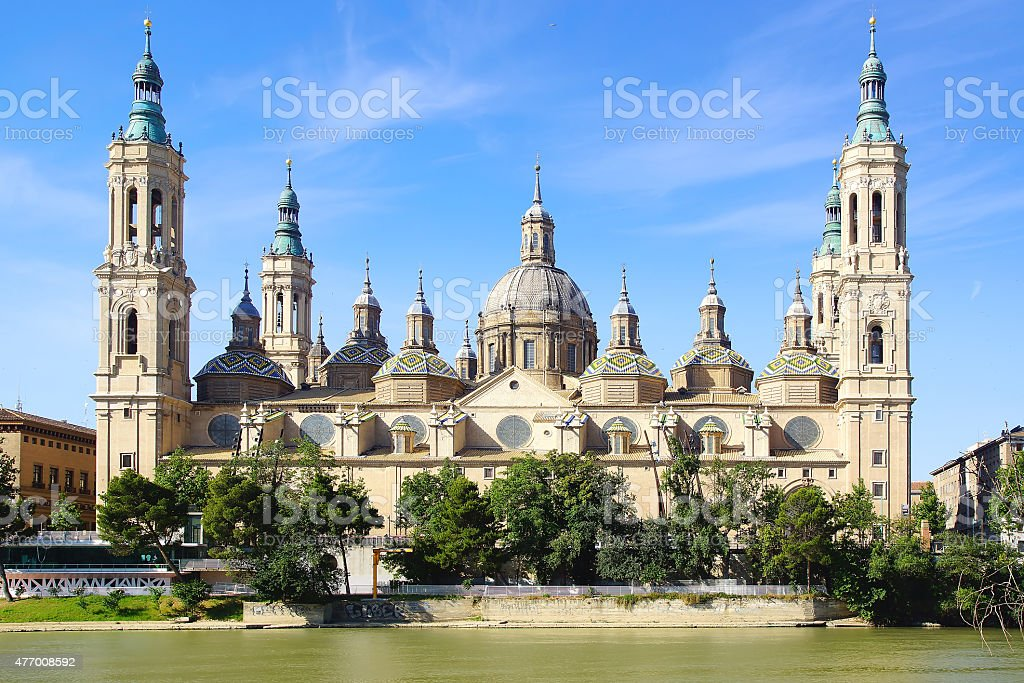 Cathedral and Ebro river in Zaragoza. stock photo