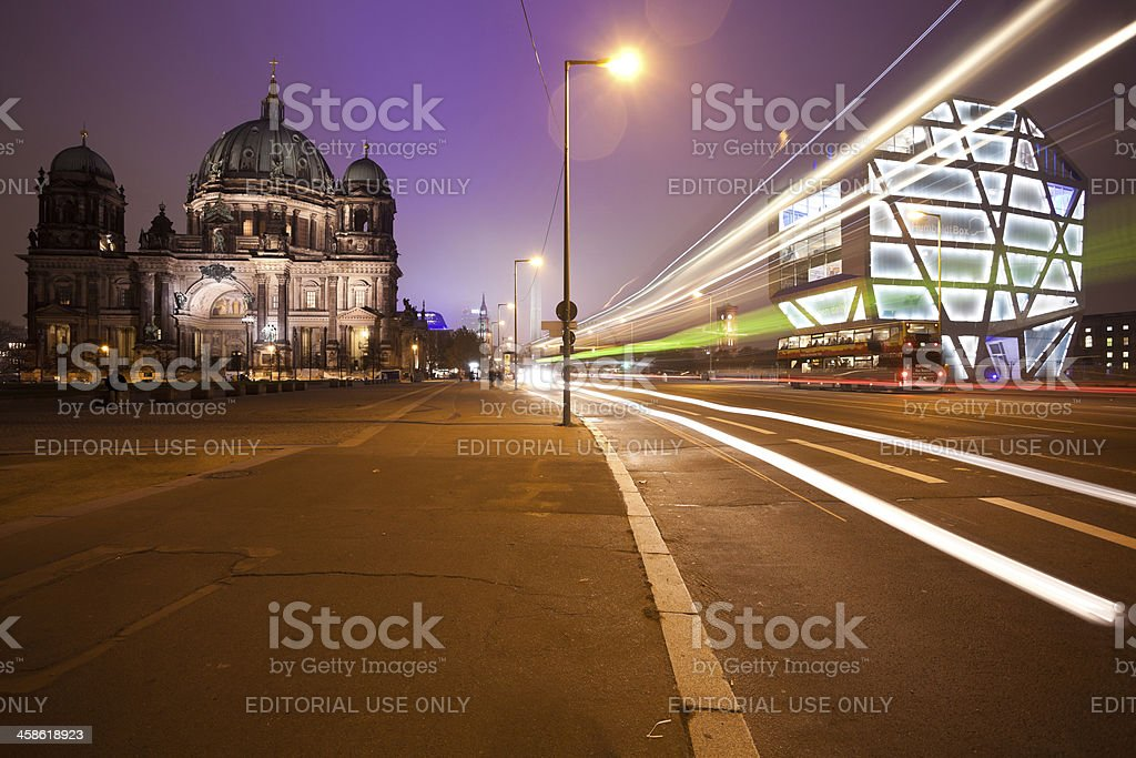 Cathedral and Humboldt Box at Night, Berlin landmarks stock photo