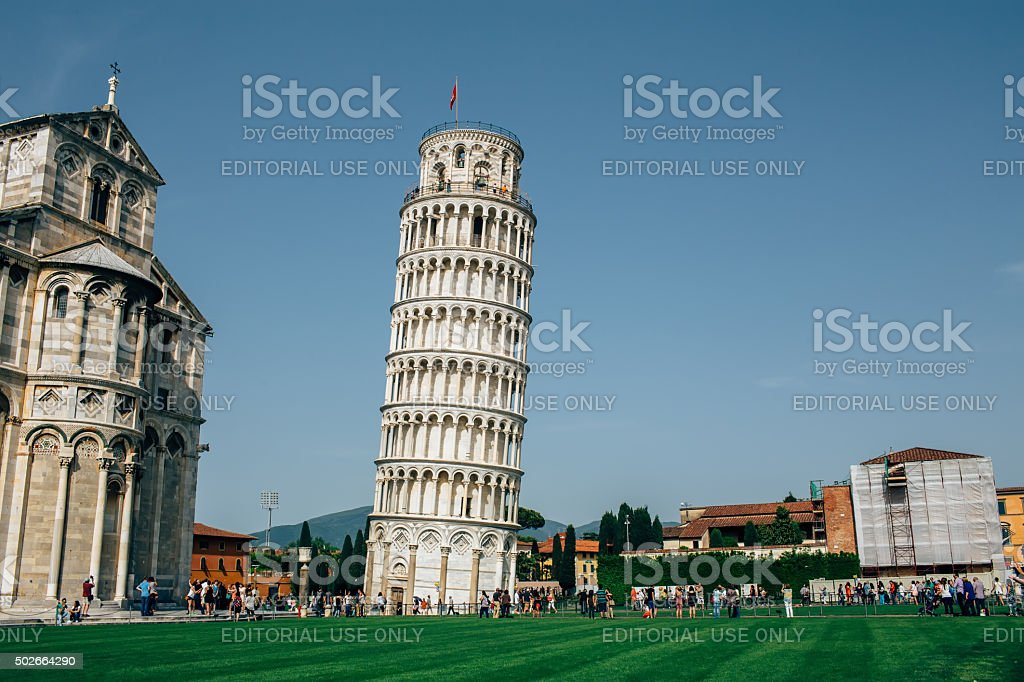Cathedral and Leaning Tower of Pisa on Piazza dei Miracoli stock photo