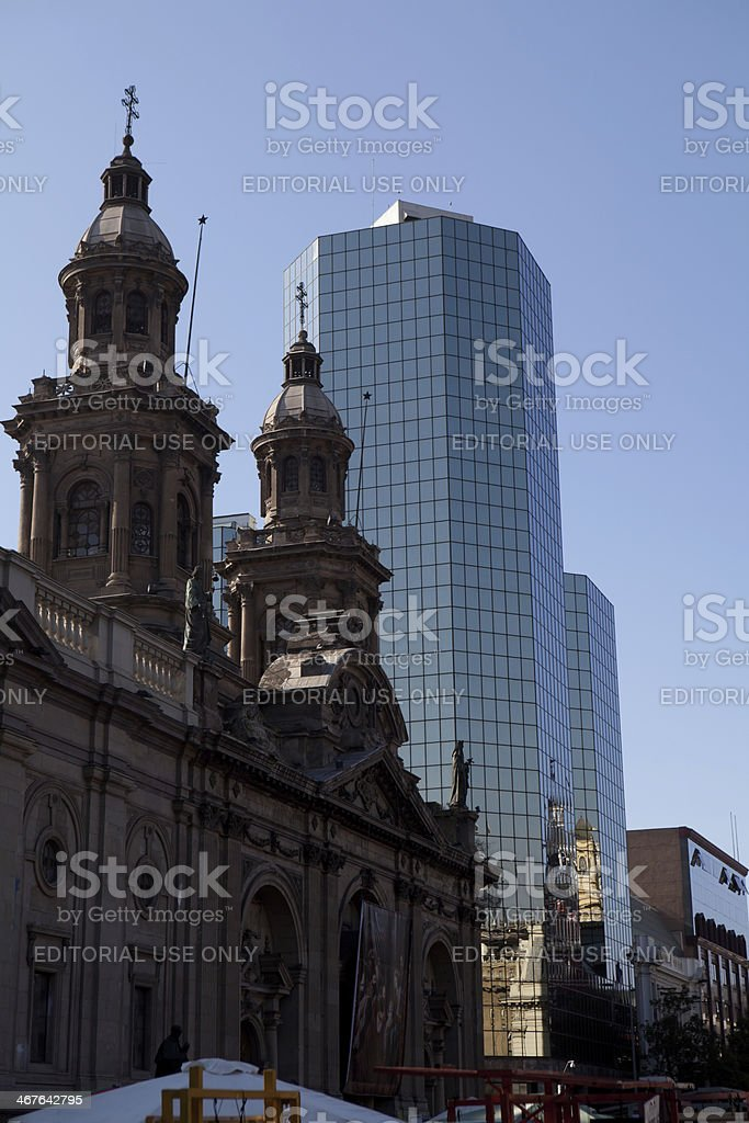 cathedral and modern office buildings stock photo