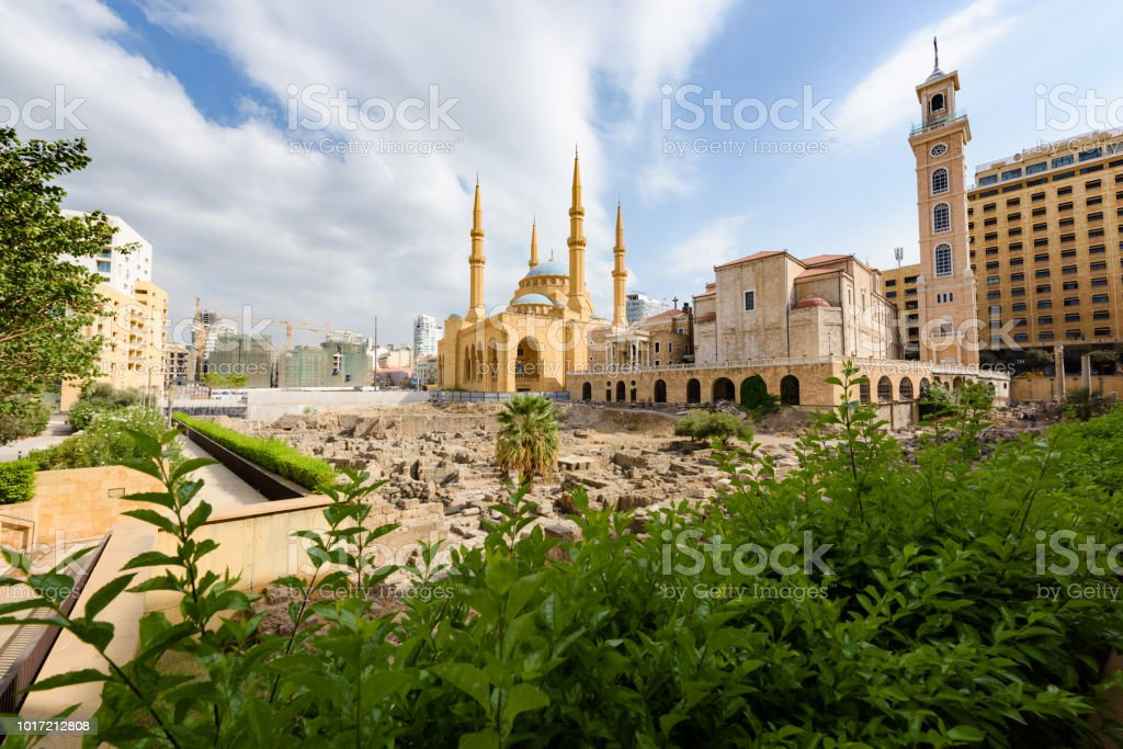 Cathedral and Mosque in Beirut, Lebanon stock photo