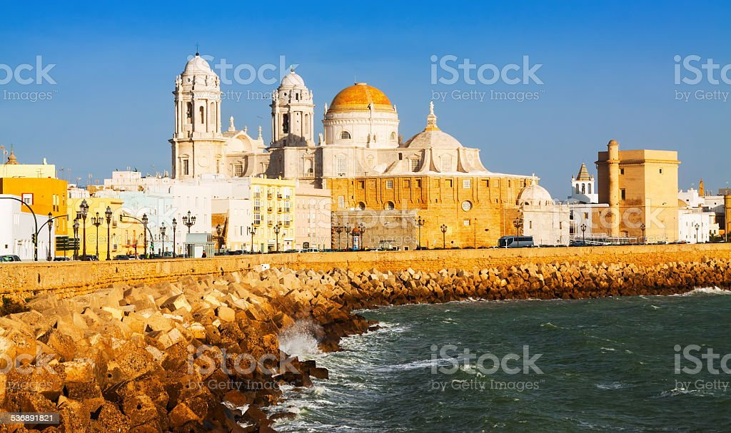 Cathedral and  ocean coast. Cadiz stock photo