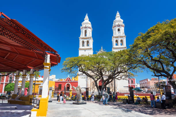 Cathedral and Plaza in Campeche, Mexico stock photo