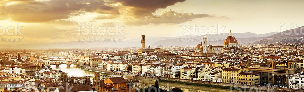 Cathedral and Ponte Vecchio on the Florence City Skyline Italy stock photo