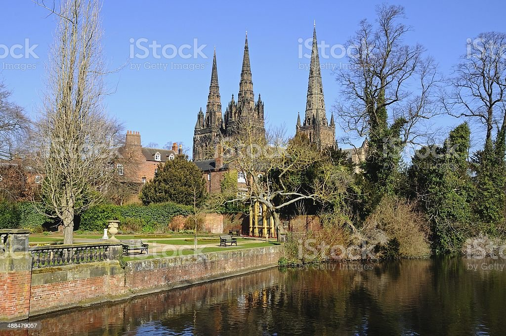 Cathedral and Remembrance Gardens, Lichfield. stock photo