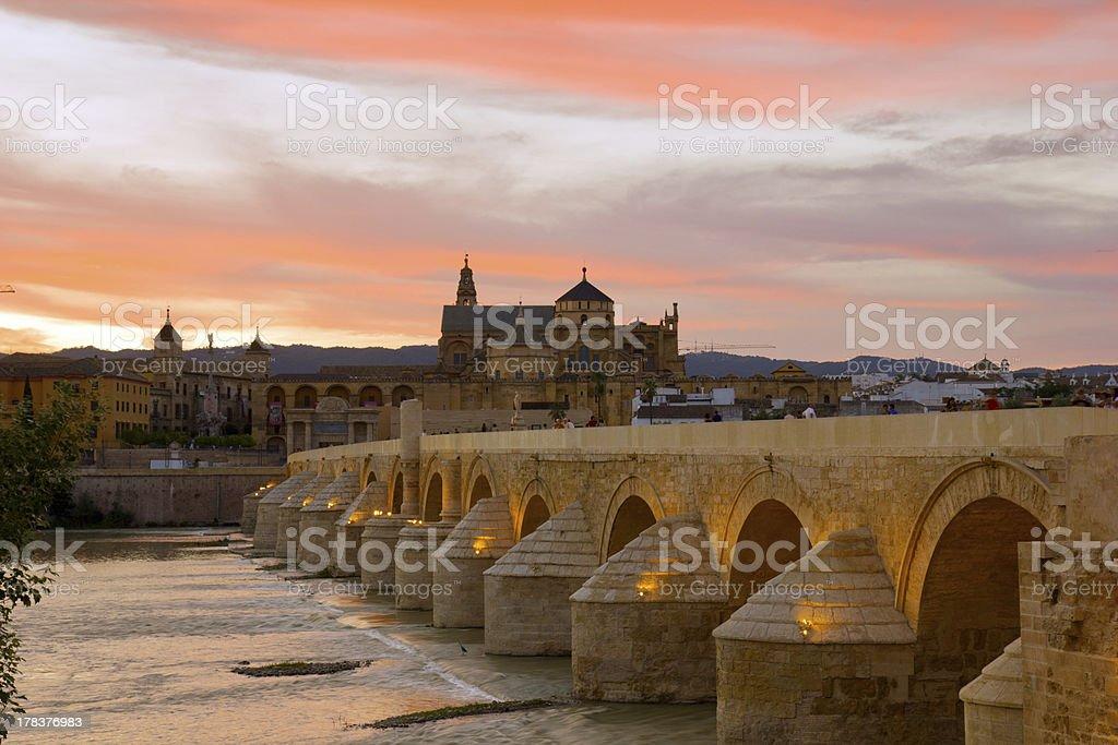 cathedral and roman bridge, Cordoba, Spain stock photo