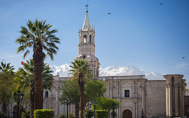 Cathedral and snowcapped volcano in Arequipa, Peru stock photo