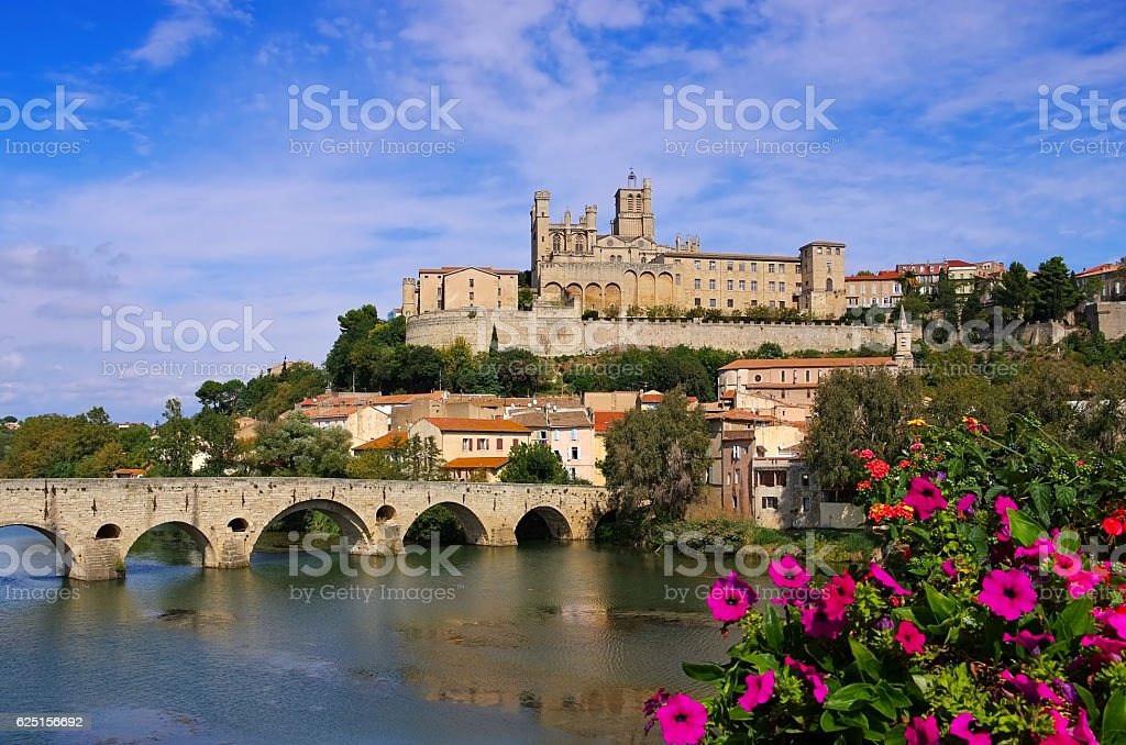 Cathedral and  the River Orb in Beziers, France - Photo