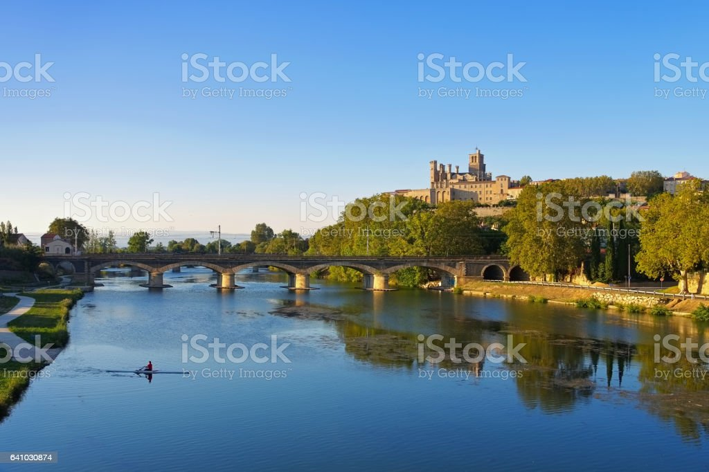 Cathedral and  the River Orb in Beziers, France stock photo