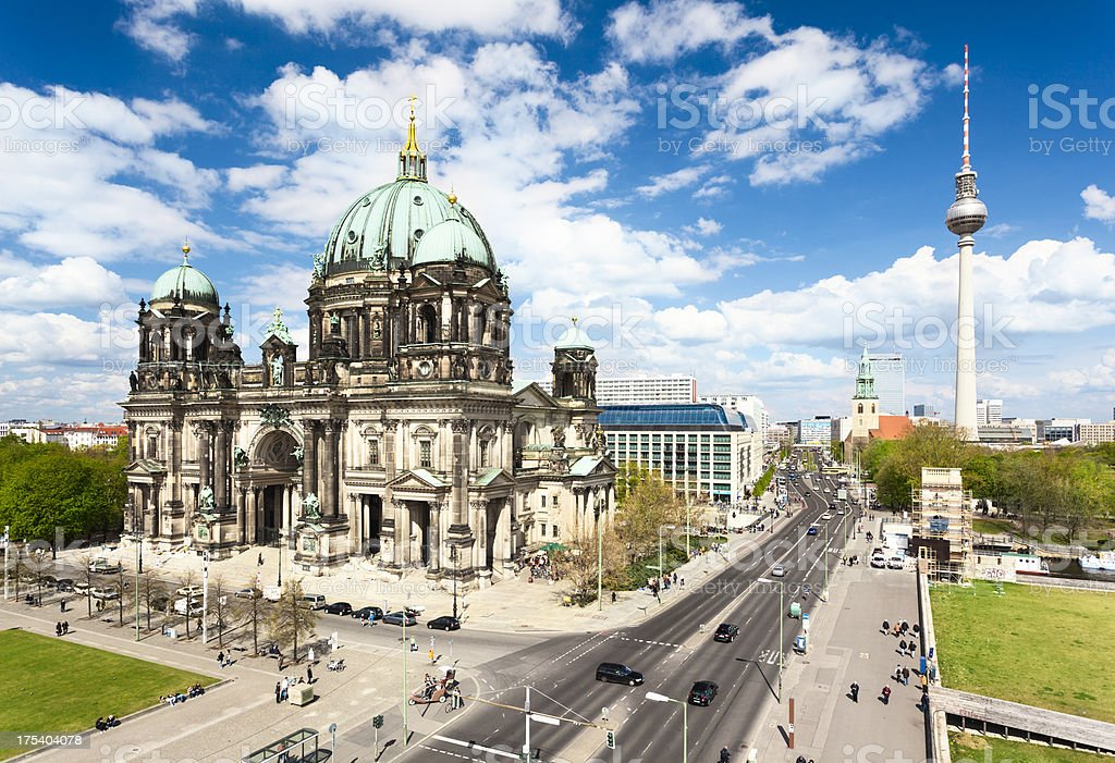 Cathedral and TV tower in Berlin royalty-free stock photo