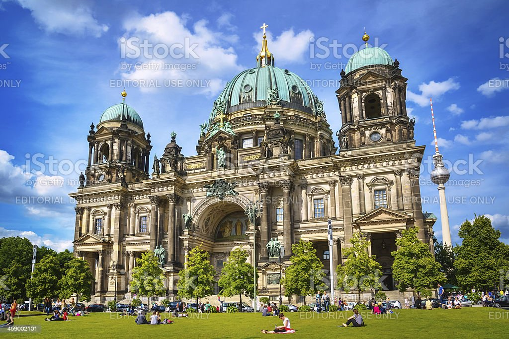 Cathedral and TV Tower in Berlin stock photo
