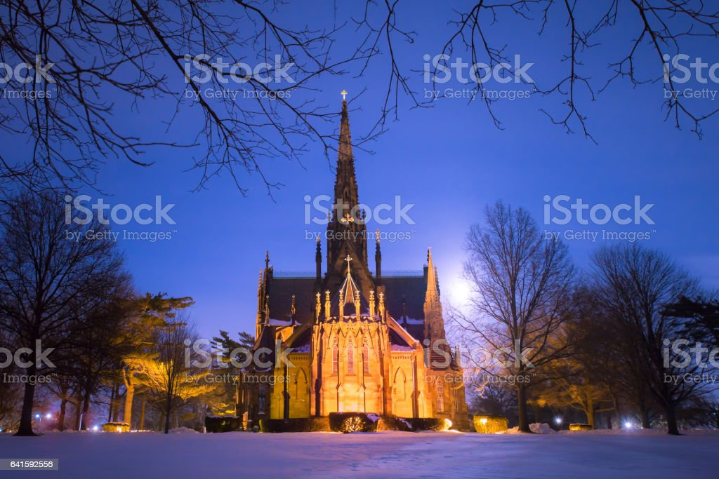 Cathedral at night stock photo