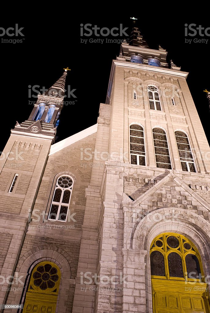 cathedral at night two steeple joliette quebec royalty-free stock photo