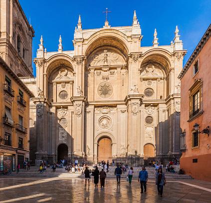 Granada, Spain - November 2, 2017: Cathedral at Plaza de las Pasiegas square in Granada.