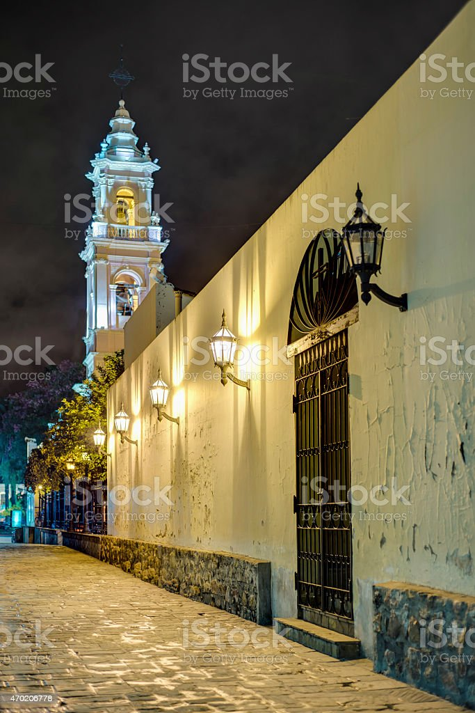 Cathedral Basilica in Salta, Argentina stock photo