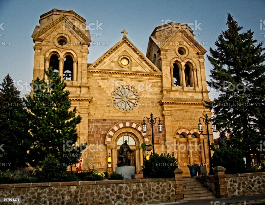 Cathedral Basilica of St. Francis of Assisi in Santa Fe, New Mexico. stock photo