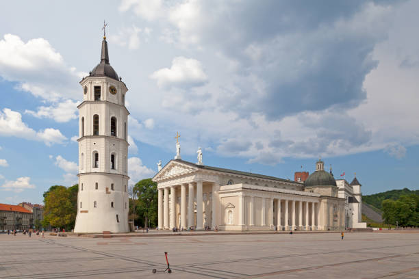 Cathedral Basilica of St Stanislaus and St Ladislaus of Vilnius stock photo