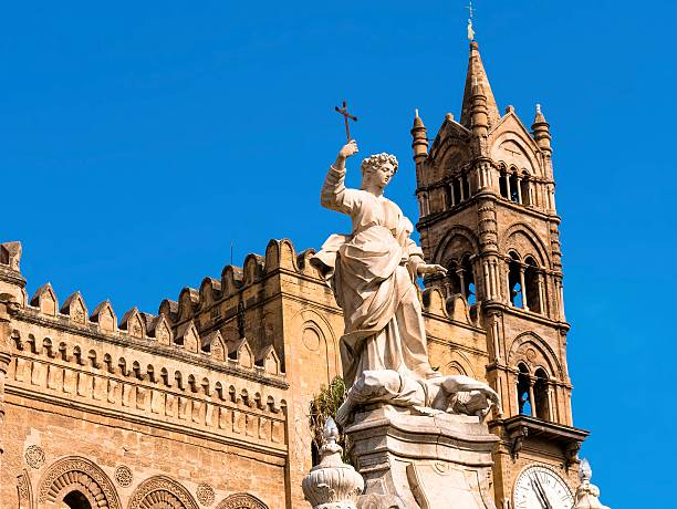 cathedral bell tower with monument of rosalia  Palermo in Sicily stock photo