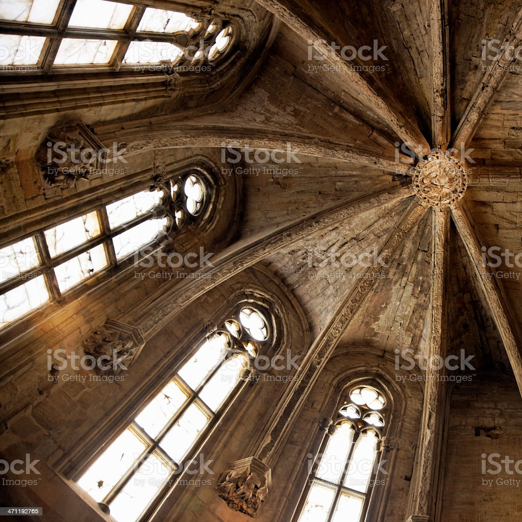 Cathedral Ceiling Interior (Gothic-Romanesque Style) stock photo
