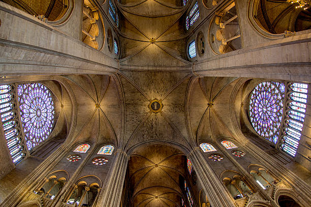cathedral ceiling - paris, france - rose window stock pictures, royalty-free photos & images