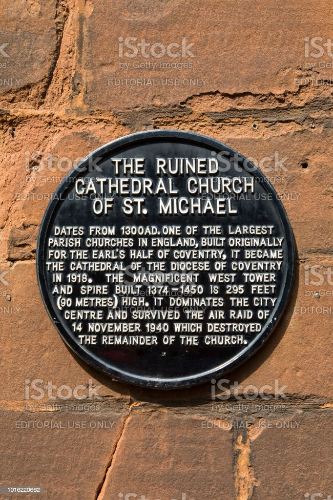 Cathedral Church of St. Michael Plaque in Coventry, UK stock photo