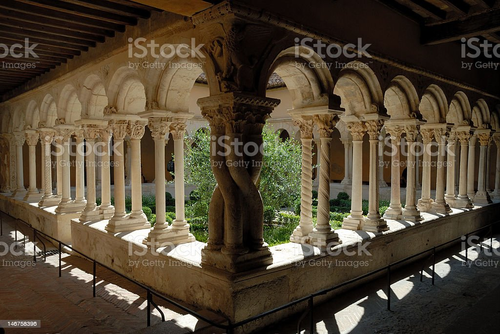Cathedral Cloister in France stock photo