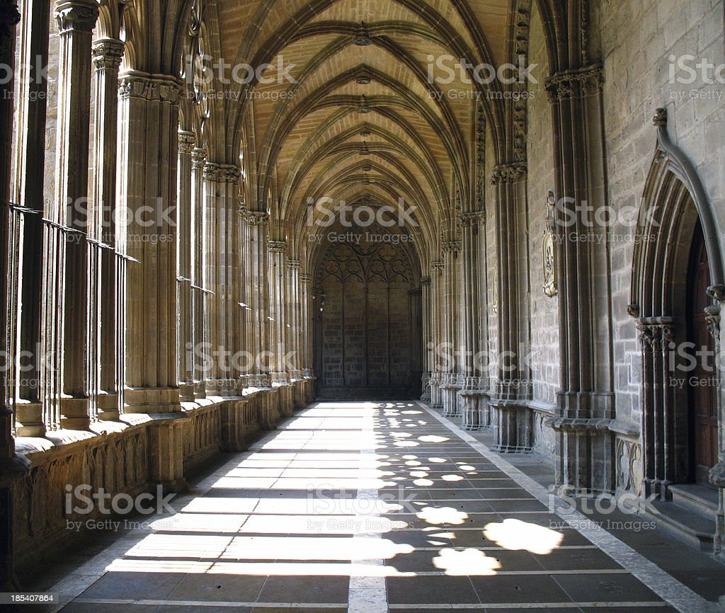 Cathedral Cloister in Sunlight royalty-free stock photo