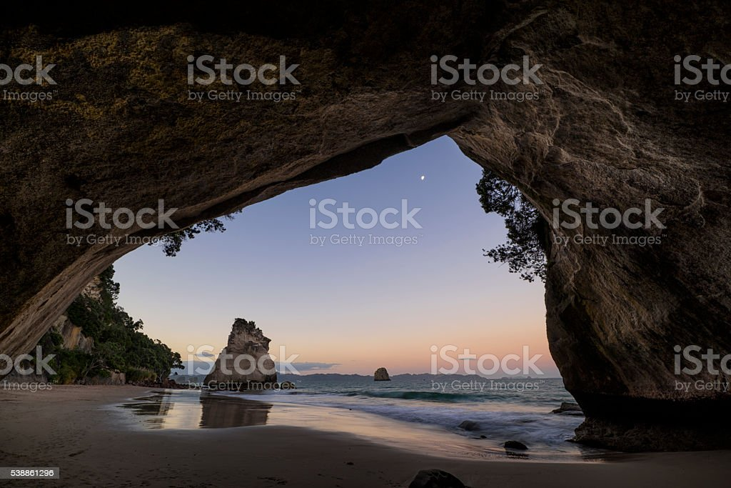 Cathedral cove at the Coromandel peninsula, New Zealand stock photo