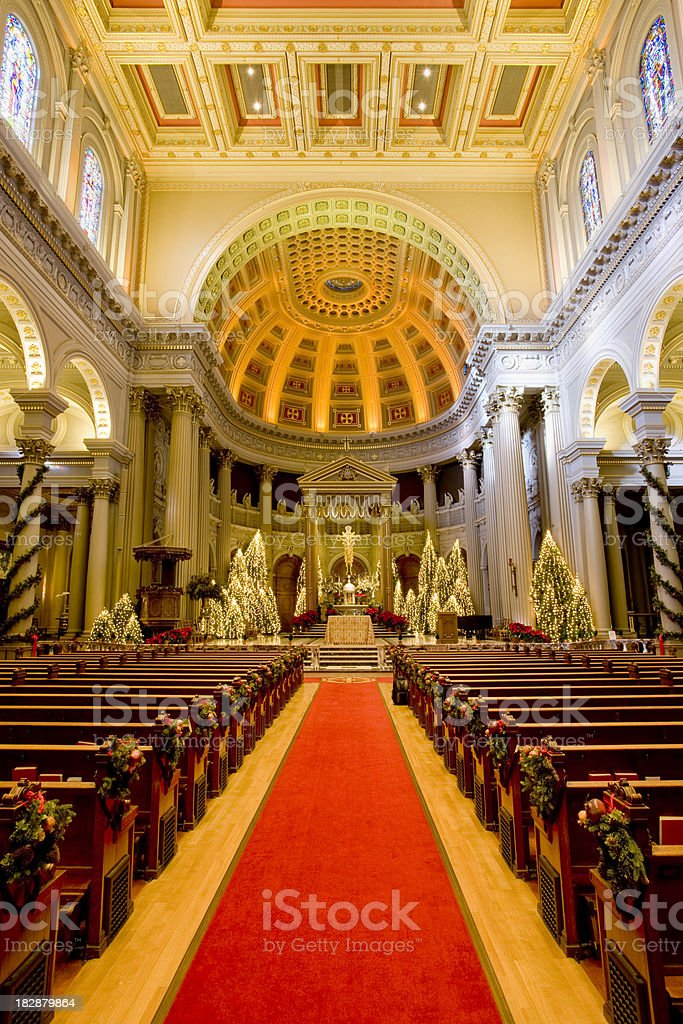 Cathedral Decorated for Christmas royalty-free stock photo
