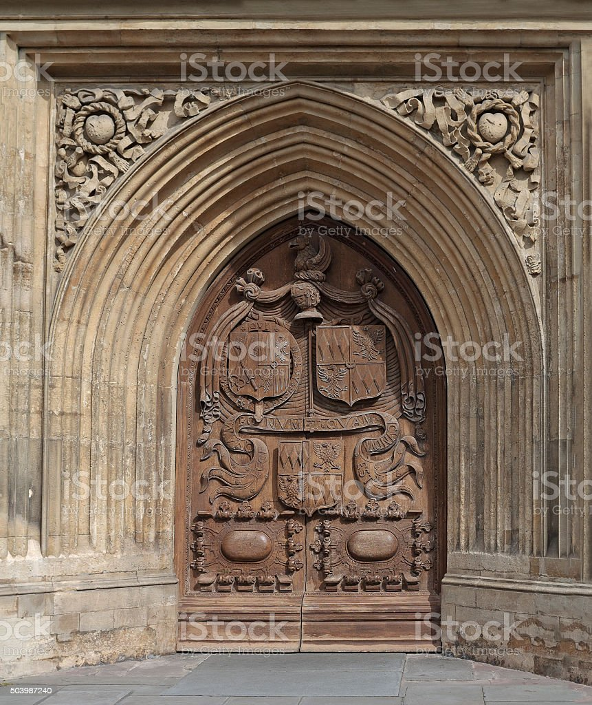 Cathedral door in Bath, England stock photo