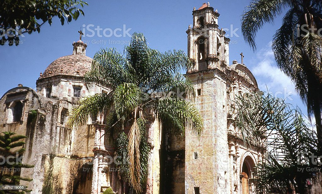 Cathedral during daytime in city of Cuernavaca Mexico stock photo