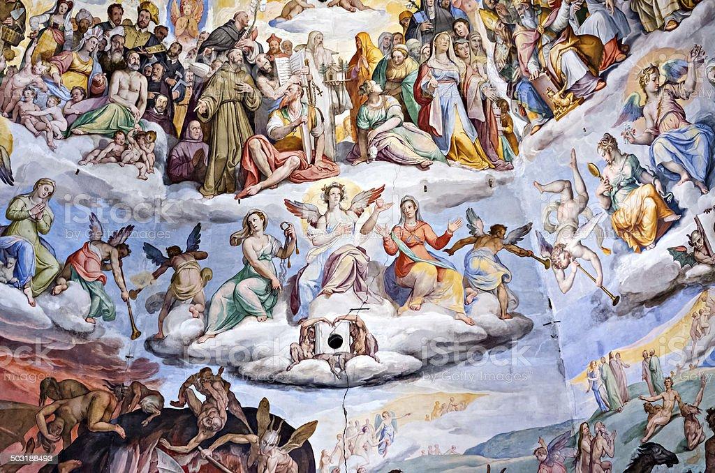 Affresco della Cattedrale di Santa Maria del Fiore a Firenze - foto stock