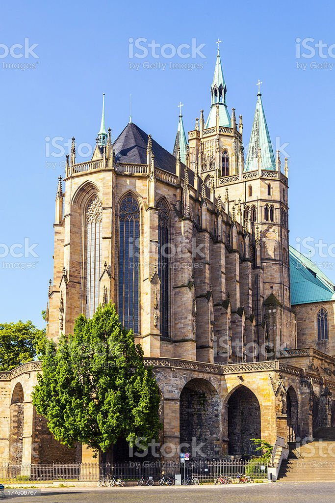 Cathedral Hill of Erfurt with Dome in Thuringia, Germany royalty-free stock photo