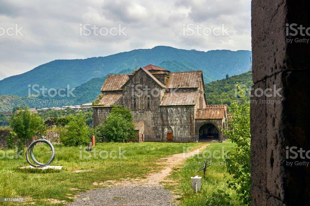 Cathedral in ancient armenian monastery Akhtala stock photo