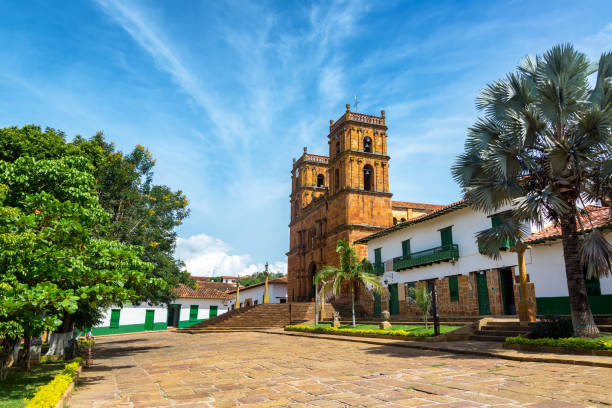 Cathedral in Barichara stock photo